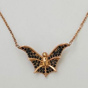 Silver bat necklace black cz pink gold plated